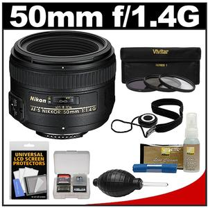 Nikon 50mm f/1.4G AF-S Nikkor Lens with 3 UV/CPL/ND8 Filters + Cleaning Kit