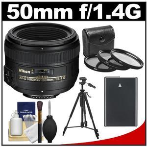Nikon 50mm f/1.4G AF-S Nikkor Lens with EN-EL14 Battery + 3 UV/CPL/ND8 Filters + Tripod + Cleaning Kit