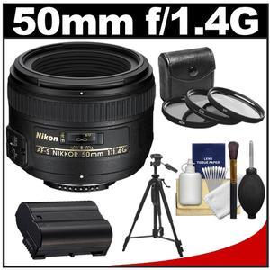 Nikon 50mm f/1.4G AF-S Nikkor Lens with EN-EL15 Battery + 3 UV/CPL/ND8 Filters + Tripod + Cleaning Kit