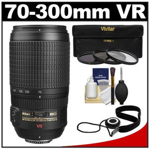 Nikon 70-300mm f/4.5-5.6 G VR AF-S ED-IF Zoom Lens - Factory Refurbished with 3 UV/ND8/CPL Filters + Accessory Kit