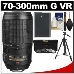 Nikon 70-300mm f/4.5-5.6 G VR AF-S ED-IF Zoom-Nikkor Lens with EN-EL14 Battery + 3 UV/ND8/CPL Filters + Tripod + Cleaning Kit