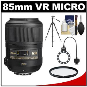 Nikon 85mm f/3.5 G VR AF-S DX ED Micro-Nikkor Lens with Tripod + UV Filter + Macro Ring Light + Accessory Kit