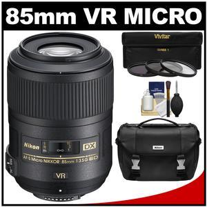 Nikon 85mm f/3.5 G VR AF-S DX ED Micro-Nikkor Lens with Gadget Bag + 3 UV/CPL/ND8 Filters + Kit