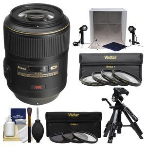 Nikon 105mm f-2.8 G VR AF-S Micro-Nikkor Lens with 3 UV-CPL-ND8 and Macro Filters + Portable Light Box + Macro Tripod + Kit