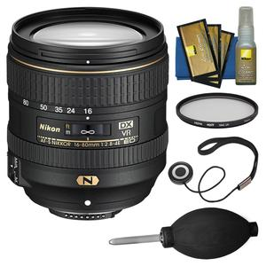 Nikon 16-80mm f-2.8-4E VR DX AF-S ED Zoom-Nikkor Lens with Filter + CapKeeper + Cleaning Kit