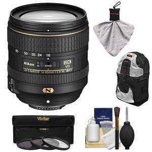 Nikon 16-80mm f-2.8-4E VR DX AF-S ED Zoom-Nikkor Lens with 3 UV-CPL-ND8 Filters + Backpack Case + Spudz + Kit