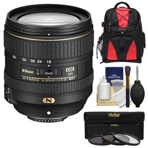 Nikon 16-80mm f-2.8-4E VR DX AF-S ED Zoom-Nikkor Lens with 3 UV-CPL-ND8 Filters + Backpack Case + Kit