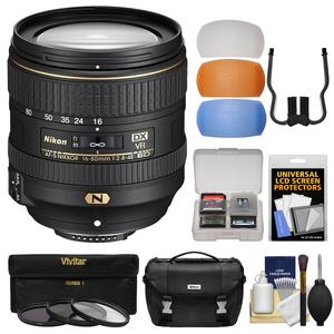 Nikon 16-80mm f-2.8-4E VR DX AF-S ED Zoom-Nikkor Lens with 3 UV-CPL-ND8 Filters + Case + 3 Color Pop-Up Flash Diffusers + Kit