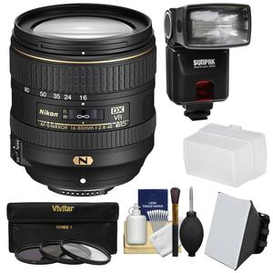 Nikon 16-80mm f-2.8-4E VR DX AF-S ED Zoom-Nikkor Lens with 3 UV-CPL-ND8 Filters + iTTL Flash + Diffuser + Softbox + Kit