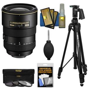 Nikon 17-55mm f-2.8 G DX AF-S ED-IF Zoom-Nikkor Lens with 3 UV-CPL-ND8 Filters + Pistol Grip Tripod + Kit