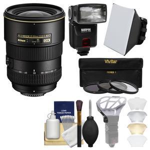 Nikon 17-55mm f-2.8 G DX AF-S ED-IF Zoom-Nikkor Lens with iTTL Flash + Soft Box + Diffuser Bouncer + 3 UV-CPL-ND8 Filters + Kit
