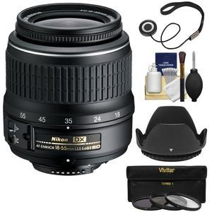 Nikon 18-55mm f-3.5-5.6G II DX AF-S ED Zoom-Nikkor Lens with 3 UV-CPL-ND8 Filters + Hood + Kit