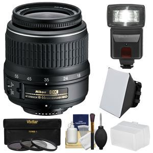 Nikon 18-55mm f-3.5-5.6G II DX AF-S ED Zoom-Nikkor Lens with 3 UV-CPL-ND8 Filters + Flash + Softbox + Bounce Diffuser + Kit