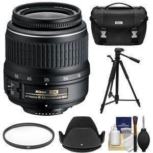 Nikon 18-55mm f-3.5-5.6G II DX AF-S ED Zoom-Nikkor Lens with Filter + Hood + Case + Tripod + Kit