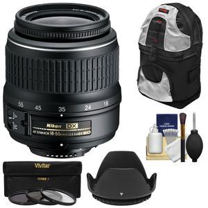 Nikon 18-55mm f-3.5-5.6G II DX AF-S ED Zoom-Nikkor Lens with 3 UV-CPL-ND8 Filters + Hood + Backpack Case + Kit