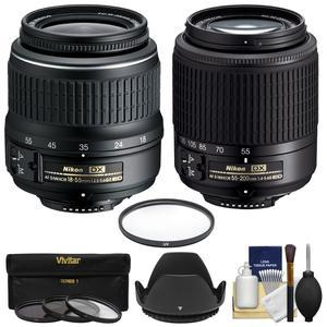 Nikon 18-55mm f-3.5-5.6G II DX AF-S ED Zoom-Nikkor Lens with AF-S 55-200mm G DX ED Lens + 4 Filters + Hood + Kit