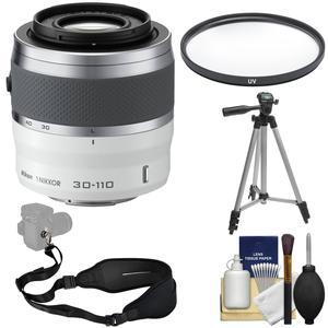 Nikon 1 30-110mm f-3.8-5.6 VR Nikkor Lens-White-with UV Filter and Strap and Tripod and Cleaning Kit