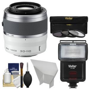 Nikon 1 30-110mm f-3.8-5.6 VR Nikkor Lens-White-with 3 UV-CPL-ND8 Filters and Flash and Bounce Reflector and Kit