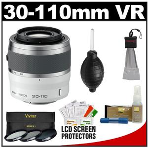 Nikon 1 30-110mm f-3.8-5.6 VR Nikkor Lens-White-with 3 UV-CPL-ND8 Filters and Cleaning and Accessory Kit