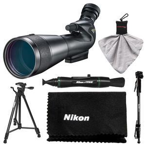 Nikon 20-60x82mm Prostaff 5 Angled Body Fieldscope Spotting Scope with Eyepiece with Tripod and Monopod and Kit