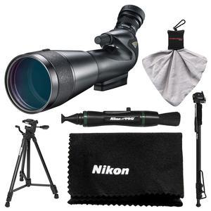 Nikon 20-60x82mm Prostaff 5 Angled Body Fieldscope Spotting Scope with Eyepiece with Tripod + Monopod + Kit