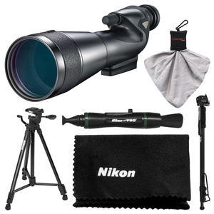Nikon 20-60x82mm Prostaff 5 Straight Body Fieldscope Spotting Scope with Eyepiece with Tripod + Monopod + Kit