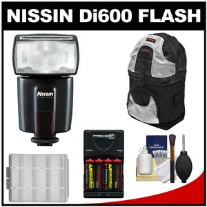 Nissin Digital Di600 Bounce-Swivel Flash-for Canon EOS E-TTL-with Backpack and Batteries and Charger Kit