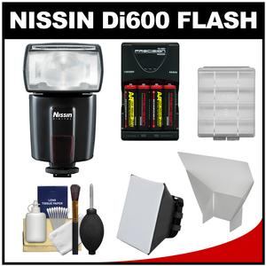 Nissin Digital Di600 Bounce-Swivel Flash-for Canon EOS E-TTL-with Batteries and Charger and Diffusers Kit