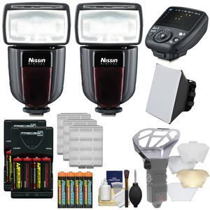 Nissin Digital Di700A Wireless Zoom Flash with Air 1 Commander Set - for Canon EOS E-TTL - with additional Di700A Flash + Soft Box + Diffuser Bouncer + Batteries and Charger + Kit