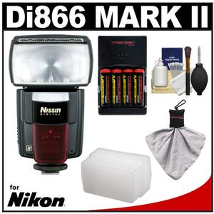 Nissin Digital Speedlite Di866 Mark II Flash (for Nikon i-TTL) with Batteries & Charger + Flash Diffuser + Accessory Kit