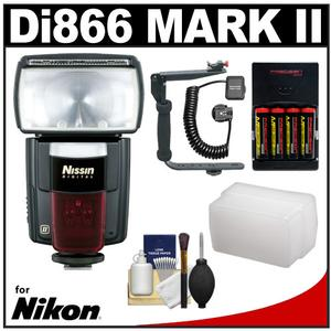 Nissin Digital Speedlite Di866 Mark II Flash (for Nikon i-TTL) with Bracket & Off-Camera Cord + Diffuser + Batteries & Charger + Cleaning Kit