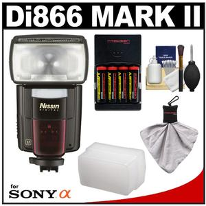 Nissin Digital Speedlite Di866 Mark II Flash (for Sony ADI/P-TTL) with Batteries & Charger + Flash Diffuser + Accessory Kit