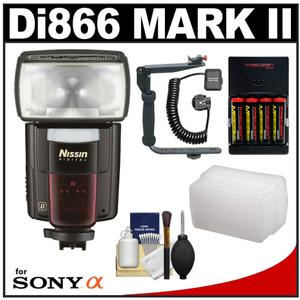 Nissin Digital Speedlite Di866 Mark II Flash (for Sony ADI/P-TTL) with Bracket & Off-Camera Cord + Diffuser + Batteries & Charger + Cleaning Kit
