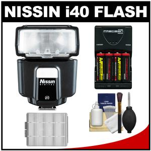 Nissin Digital i40 Speedlite Flash - for Canon EOS E-TTL - with Batteries and Charger + Kit
