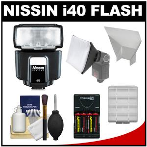 Nissin Digital i40 Speedlite Flash - for Canon EOS E-TTL - with Batteries and Charger + Softbox + Reflector + Kit