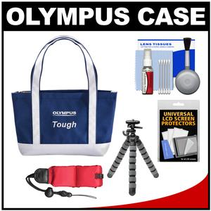 Olympus Mini Beach Bag Tough Digital Camera Case / Tote Bag (Navy/White) with Flex Tripod + Float Strap + Kit