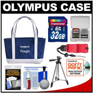 Olympus Mini Beach Bag Tough Digital Camera Case / Tote Bag (Navy/White) with 32GB Card + Tripod + Float Strap + Kit