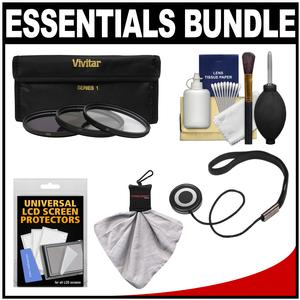 Essentials Bundle for Olympus M.Zuiko 12mm f-2.0 ED Digital Lens with 3 - UV-CPL-ND8 - Filters + Accessory Kit