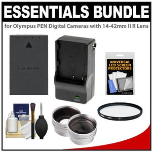 Essentials Bundle for Olympus PEN Digital Cameras & 14-42mm II R Zoom Lens with BLS-5 Battery & Charger + Filter + Wide-Angle & Telephoto Lenses + Accessory Kit