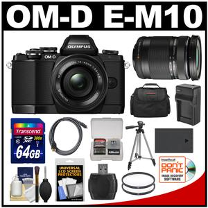 Olympus OM-D E-M10 Micro 4/3 Digital Camera & 14-42mm II R Lens (Black) with 40-150mm Lens + 64GB Card + Case + Battery/Charger + Tripod + Kit
