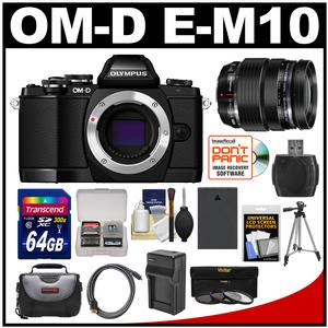 Olympus OM-D E-M10 Micro 4/3 Digital Camera Body (Black) with 12-40mm PRO ED Lens + 64GB Card + Case + Battery/Charger + Tripod + Kit