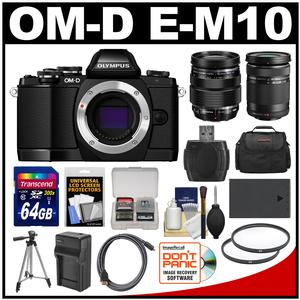 Olympus OM-D E-M10 Micro 4/3 Digital Camera Body (Black) with 12-40mm & 40-150mm ED Lenses + 64GB Card + Case + Battery + Tripod Kit