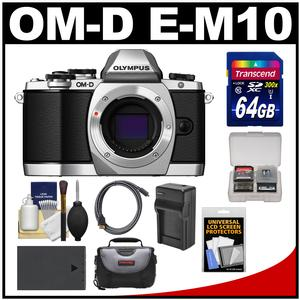 Olympus OM-D E-M10 Micro 4/3 Digital Camera Body (Silver) with 64GB Card + Case + Battery & Charger + Kit