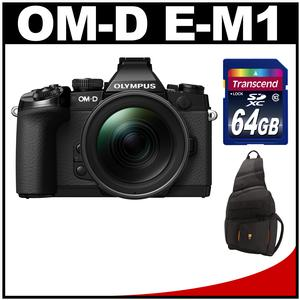 Olympus OM-D E-M1 Micro 4/3 Digital Camera with 12-40mm f/2.8 Lens (Black/Black) with 64GB Card + Sling Bag Kit