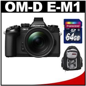 Olympus OM-D E-M1 Micro 4/3 Digital Camera with 12-40mm f/2.8 Lens (Black/Black) with 64GB Card + Mini Sling Bag Kit