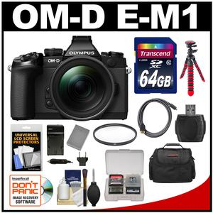 Olympus OM-D E-M1 Micro 4/3 Digital Camera with 12-40mm f/2.8 Lens (Black/Black) with 64GB Card + Case + Battery & Charger + Flex Tripod + Filter Kit
