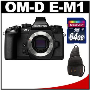 Olympus OM-D E-M1 Micro 4/3 Digital Camera Body (Black) with 64GB Card + Sling Bag Kit