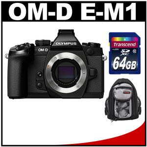 Olympus OM-D E-M1 Micro 4/3 Digital Camera Body (Black) with 64GB Card + Mini Sling Bag Kit