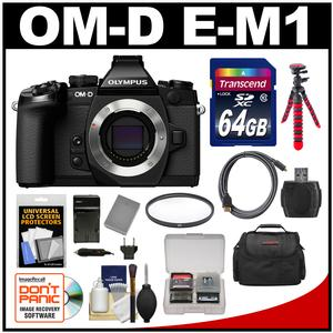 Olympus OM-D E-M1 Micro 4/3 Digital Camera Body (Black) with 64GB Card + Case + Battery & Charger + Flex Tripod + HDMI Cable + Filter Kit