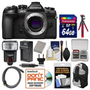 Olympus OM-D E-M1 Mark II Micro 4-3 Digital Camera Body with 64GB Card and Case and Flash and Battery and Charger and Flex Tripod and Kit